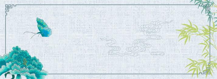 Chinese Style Classical Morandi Blue Background, Peony, Delayed Raiders, Hand Painted, Background image