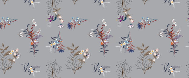 chinese style classical morandi floral, Shading, Tile, Gray Background image