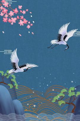 クリエイティブ合成中国風の背景 中華風 クレーン 山脈 木々 単純な 桃の花 板金 ビンテージ背景 クリエイティブ 合成 クリエイティブ合成中国風の背景 中華風 クレーン 背景画像