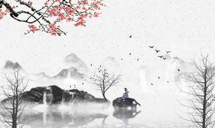 중국 스타일의 풍경화 배경 중국 스타일 풍경 배경 풍경 풍경화 손으로, 배경, 그림, 손으로 배경 이미지