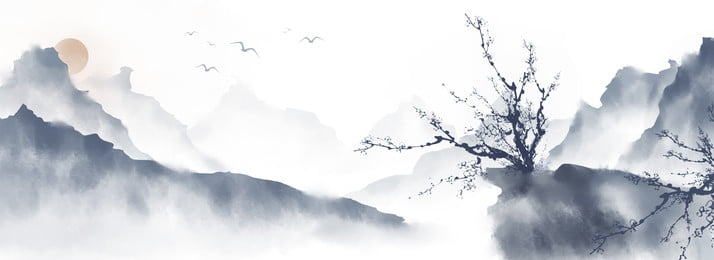 중국 스타일 손으로 그린 프리 핸드 잉크 풍경 중국 스타일 풍경화 잉크 페인팅 자유형 풍경 산, 페인팅, 자유형, 풍경 배경 이미지