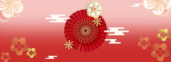 Китайский красный трехмерный цветок новый год 2019 постер фон Китайский стиль Трехмерный цветок Новогодняя постер Новый атмосфера Фоновое изображение