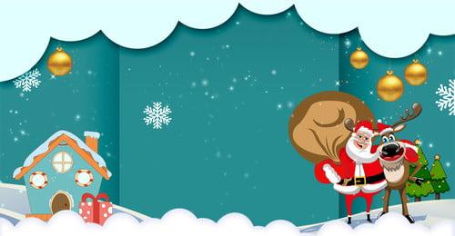 Giáng sinh Santa Claus Elk Bells Poster Giáng sinh thẻ Giáng Noel Nai Tấm Hình Nền