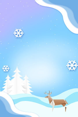 christmas christmas card simple stereoscopic , Origami, Origami Elk, Snow Background image