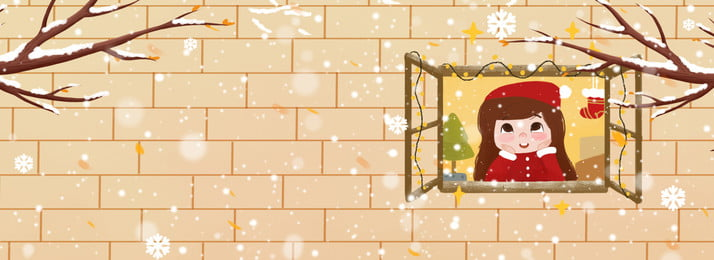 Christmas Christmas Gifts Christmas Girl In Front Of The Window, Branch, Winter, Illustrator Style, Background image