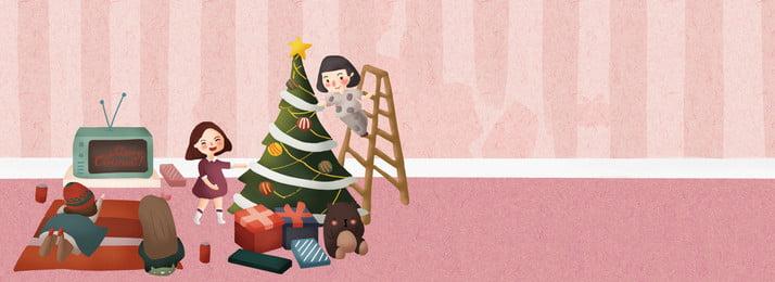 크리스마스 장식 집 파티 파티 문 크리스마스 크리스마스 트리 크리스마스 선물 선물 파티 캐릭터 홈 일러스트, 트리, 크리스마스, 크리스마스 배경 이미지