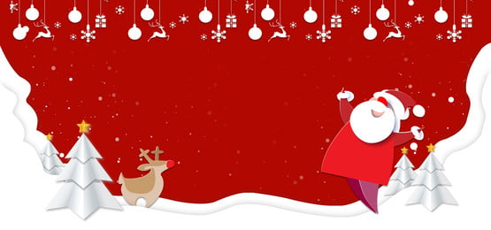 クリスマスペーパーカットのシンプルなサンタクロースバナー クリスマス 紙切れ風 単純な サンタクロース 新鮮な 可愛い エルク クリスマスツリー クリスマス 紙切れ風 単純な 背景画像