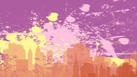 City Silhouette City Building High-rise Building, Creative, Splashing Ink, Design, Background image