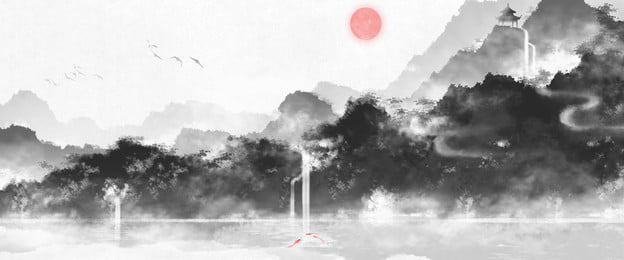 Clouds And Haze Landscape Background Mountain Line Chinese Painting, Chinese Style, Landscape Painting, Brush Strokes, Background image