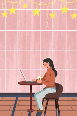 quán cà phê nhân vật làm việc , Cô Gái, ấm áp, Phong Cách Minh Họa Ảnh nền