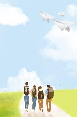 kỳ thi tuyển sinh đại học mùa tốt nghiệp bầu trời xanh đơn giản và những đám mây trắng kỳ thi tuyển , Giản, Tươi, Bầu Ảnh nền