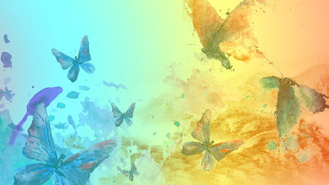 color butterfly special effects beautiful, Watercolor, Beautiful, Poster Background image