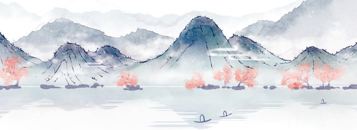 color ink landscape ink mountain peak, Trees, Ferry, Chinese Style Background image