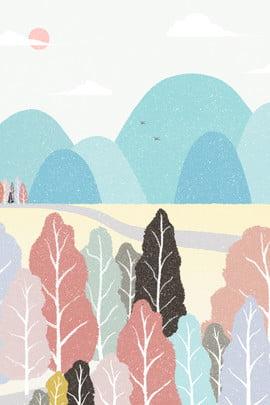 रंगीन शरद ऋतु दिन आउटडोर पर्वत पथ वुडलैंड पेस्टल ड्राइंग रंग घर के बाहर माउंटेन , सड़क, लकड़ी, क्रेयॉन पृष्ठभूमि छवि