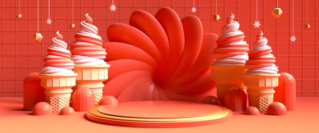 Coral Orange Ice Cream Scenes Festival, First Focus, Banner, Festive, Background image