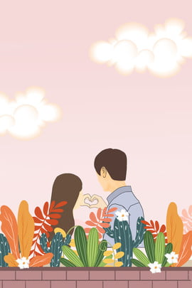 couple pink sky flowers , Simple, Ad, Couple Background image