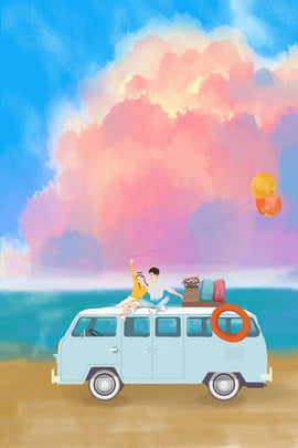 couple snuggle seaside beach , Bus, Balloon, Colorful Cloud Background image