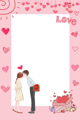 couple valentines day love cartoon , Hand Drawn Heart Shape, Love, Pink Background image