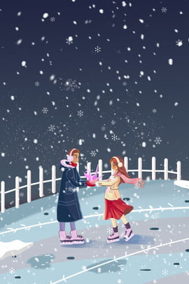 couple winter ski outdoor , Motion, Appointment, Illustrator Style Background image