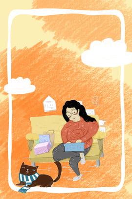 蠟筆休閒下午時光背景 蠟筆 蠟筆紋理 蠟筆繪畫 休閒 白雲 貓 慵懶下午 , 蠟筆, 蠟筆紋理, 蠟筆繪畫 背景圖片