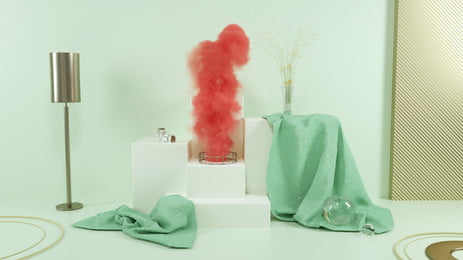 Creative Smoke Rendering Scenes C4d, Three-dimensional Background, Poster Banner, Red Smoke, Background image