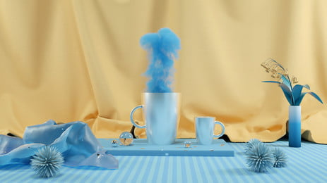 Creative Smoke Rendering Scenes C4d, Three-dimensional Background, Poster Banner, Yellow Background, Background image