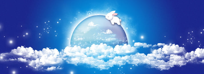 dark blue mid autumn festival moon, Bunny, White Clouds, Star Point Background image