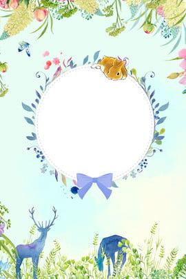 크리 에이 티브 봄 새로운 포스터 합성 사슴 봄 봄에 새로운 봄 꽃 테두리 식물 크리에이티브 단순한 , 테두리, 식물, 크리에이티브 배경 이미지