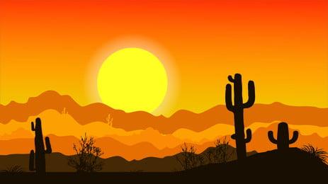 砂漠の風景イラストポスター 砂漠 風景 夕焼け 山脈 山頂 サボテン グリーン 植物 イラスト ポスター バックグラウンド, 砂漠の風景イラストポスター, 砂漠, 風景 背景画像