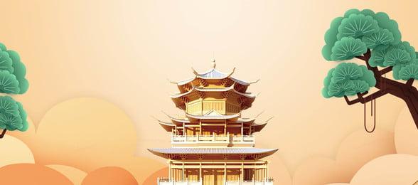 chongyang festival sacrifício amarelo crane tower antigo vento bandeira de fundo duplo nono festival sacrifício torre, Do, Fundo, Fundo Imagem de fundo