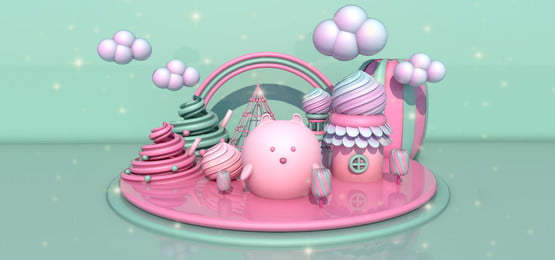 dreamy cute mint green candy colors c4d scene, C4d Background, Candy Color Background, Bear Background Background image