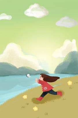 새 그림 포스터에 lichun 신선한 여자 의상 이른 봄 신선한 소녀 의류 shangxin 여행 캐릭터 일러스트 레이터 , 레이터, 스타일, 새 그림 포스터에 Lichun 신선한 여자 의상 배경 이미지