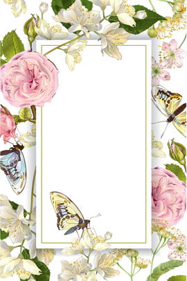 Elegant Hand Painted Fresh Simple, Flower, Butterfly, Plant, Background image