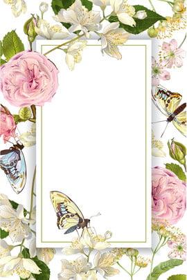 手描きイラスト風花の境界線の背景 優雅な 手描き 新鮮な 単純な 花 蝶 植物 花 花 イラストレーターのスタイル 国境 ポスター バックグラウンド , 手描きイラスト風花の境界線の背景, 優雅な, 手描き 背景画像