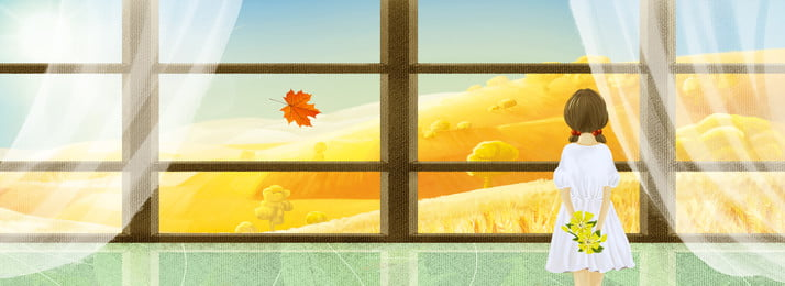 創意合成秋天背景 秋天 落葉 銀杏 九月 女孩 卡通 窗戶 簡約 合成, 秋天, 落葉, 銀杏 背景圖片