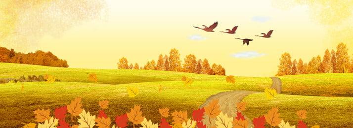 創意合成秋天背景 秋天 落葉 銀杏 九月 秋風 稻田 卡通 簡約 合成, 創意合成秋天背景, 秋天, 落葉 背景圖片