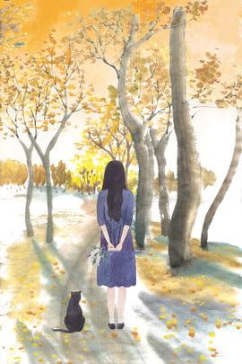 mão desenhada garota solitária e gato no outono madeiras decíduas outono madeiras folha amarela folhas caídas menina cat solitário final , Caídas, Menina, Cat Imagem de fundo