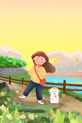 mùa thu đất nước mùa thu du lịch cô gái trang phục poster mùa thu cô gái mèo Động , Vật, Đường, Họa Ảnh nền