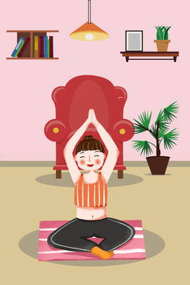 الخريف الجسم رسمت باليد الكرتون فتاة ممارسة اليوغا الرياضة الملصق الإبداعية الوقوع في الخريف من , رسم, الوقوع, نوم صور الخلفية