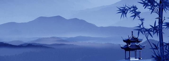 chinesischer schattenbild themahintergrund der chinesischen art weit berg pavillon bambus chinesischer stil tintenwind schattenbild blau retro poster, Berg, Pavillon, Bambus Hintergrundbild