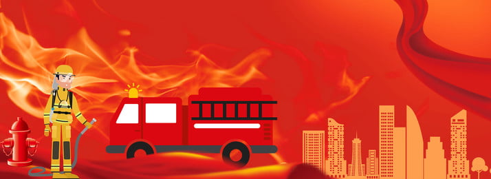 Fire Fire Propaganda Firefighting Day Disaster Prevention, Fire Prevention, Fire Truck, Firemen, Background image