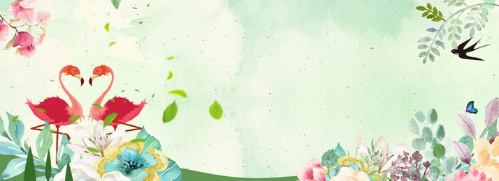 手描きの新鮮なフラミンゴのポスターの背景 フラミンゴ 純赤い風 手描きの花 新鮮な イン風 フラミンゴポスター グリーン, フラミンゴ, 純赤い風, 手描きの花 背景画像