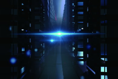 高端發展商業街頭 閃光 街角 樓宇 窗口 藍色 虛幻 光 科技 流動, 高端發展商業街頭, 閃光, 街角 背景圖片