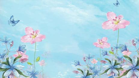 ताजा पानी के रंग का हाथ चित्रित पृष्ठभूमि पोस्टर फूल तितली ताज़ा हाथ खींचा हुआ आबरंग नीला पृष्ठभूमि पोस्टर विज्ञापन, ताजा पानी के रंग का हाथ चित्रित पृष्ठभूमि पोस्टर, फूल, तितली पृष्ठभूमि छवि