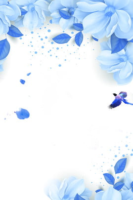 flower literary simple womens clothing , Blue Background, Hand Painted Flowers, Three-dimensional Flower Background image