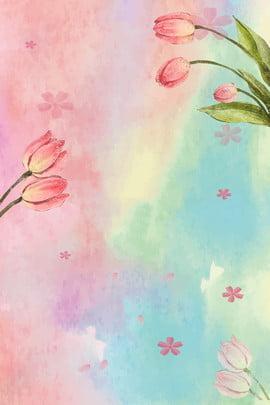 gradient hoa tulip tươi hoa bối cảnh hoa tulip h5 quảng , Gradient Hoa Tulip Tươi, Nước, Vẽ Ảnh nền