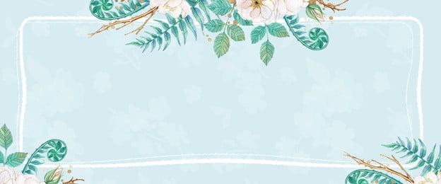 綠植花卉線條邊框藍色背景 花卉 綠植 線條邊框 新品上新 可愛底紋 文藝 藍色背景, 綠植花卉線條邊框藍色背景, 花卉, 綠植 背景圖片