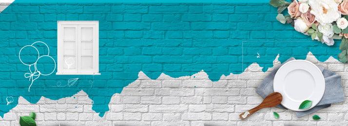 食品ケータリングブルーグリーンの背景の文学ポスターバナーバック 食べ物 アフタヌーンティー 文学 ポスターの背景 花 食器 壁 美しい しあわせ, 食べ物, アフタヌーンティー, 文学 背景画像