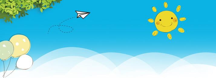 Fresh Blue Sky Blue Sun, Balloon, Starting School, School, Background image