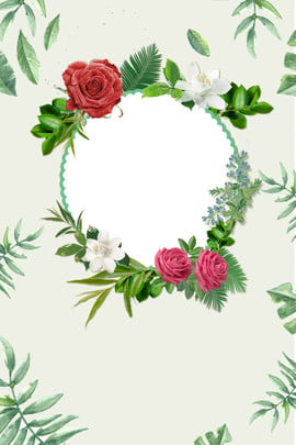 Fresh Elegant Wreath Poster, Rose, Leaves, Round, Background image